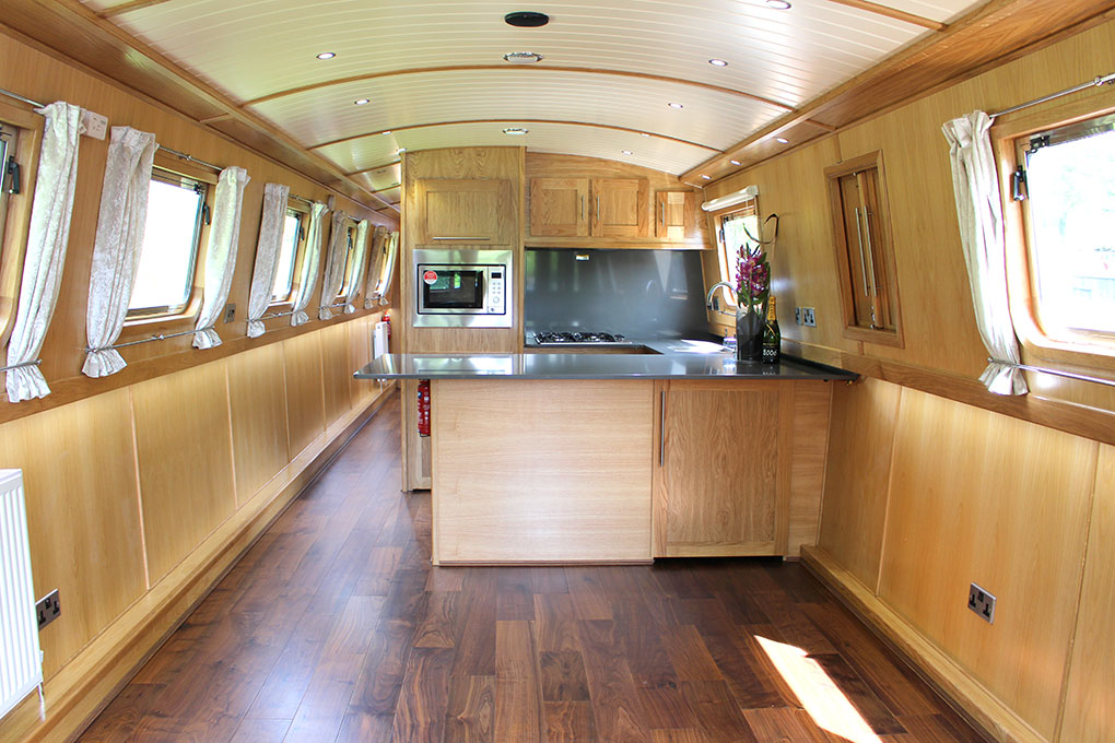 Widebeam Canal Boat Galley & Saloon