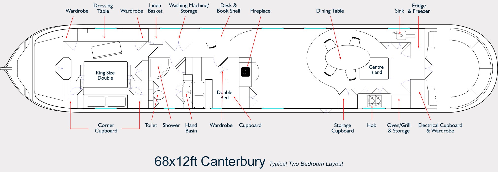 68ft x 12ft Canterbury Widebeam - Floor Plan