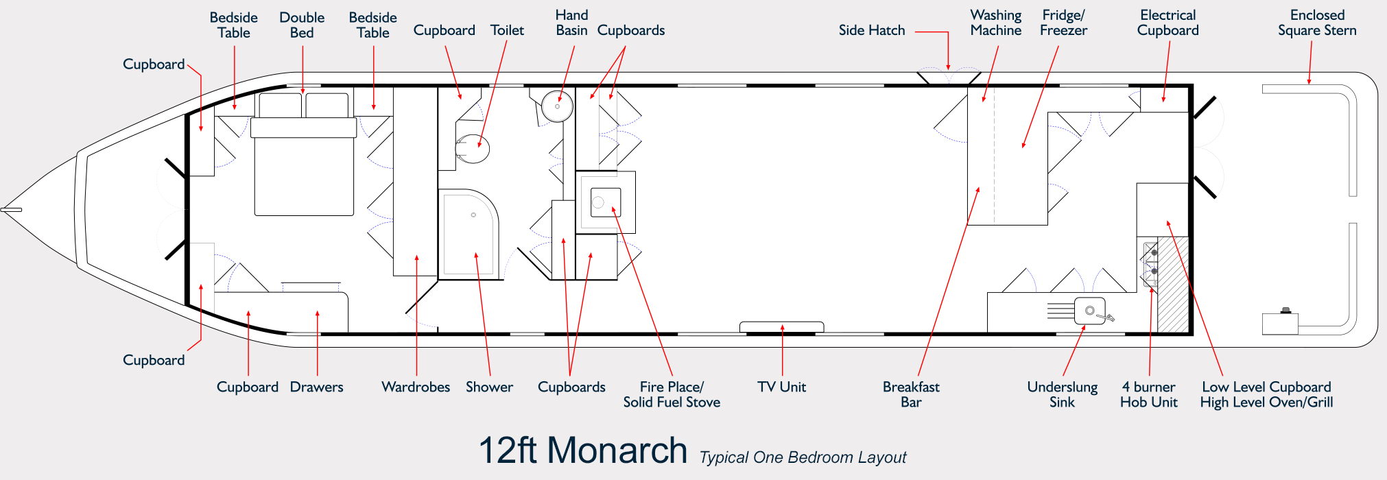 Monarch Widebeam Boat Builder - 12ft Reverse Layout Floor Plan