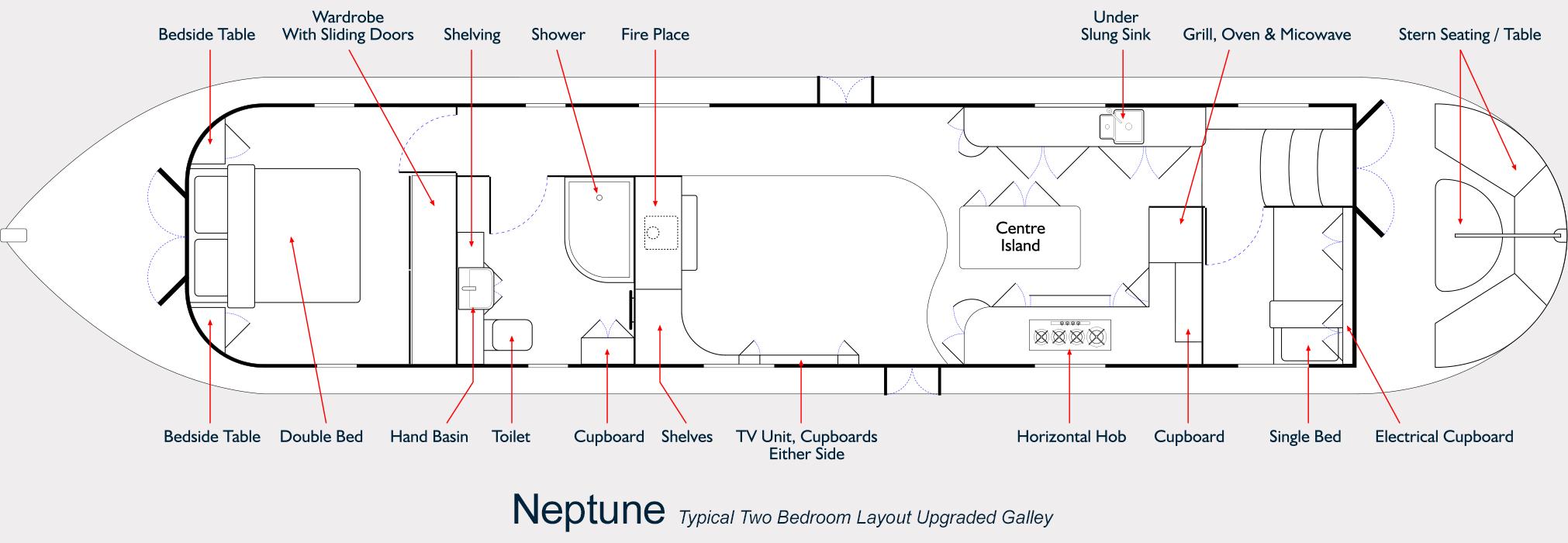 Neptune Barge Floor Plan - Upgraded Galley