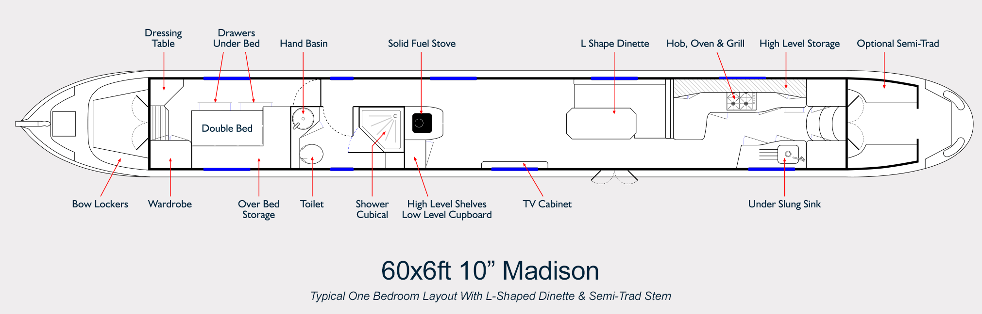 Aqualine Narrowboat Builders Layout Drawing 60ft Madison