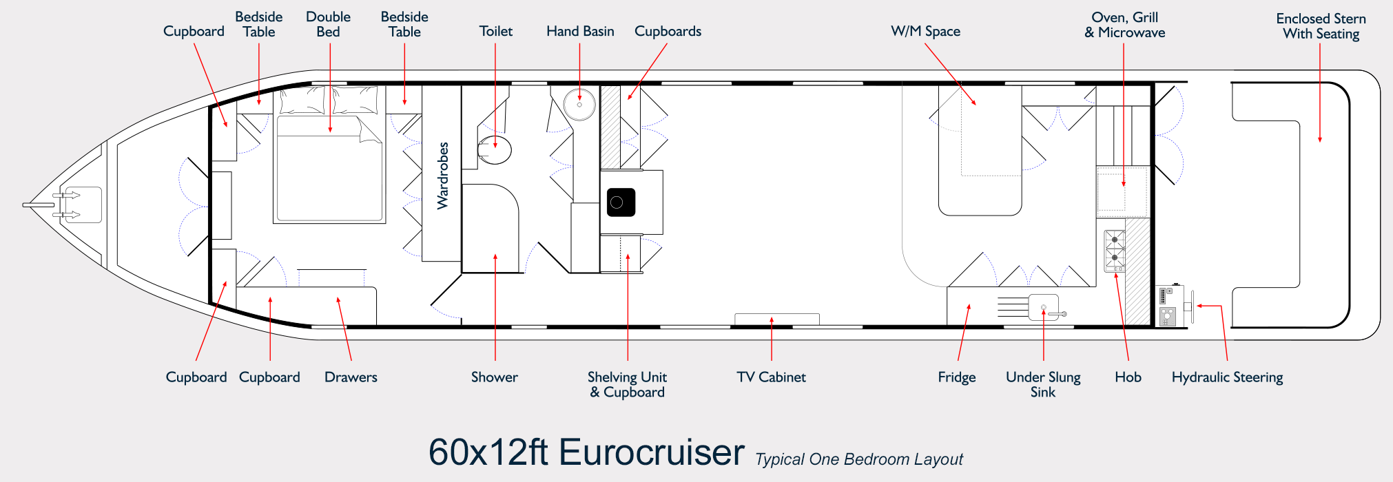 Widebeam Builders Eurocruiser Layout Drawing 60ft x 12ft Reverse Layout