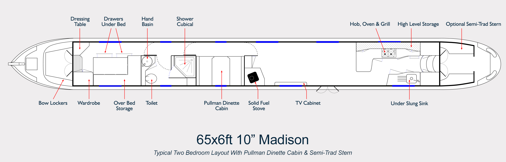 Aqualine Narrowboat Builders Layout Drawing 65ft Madison