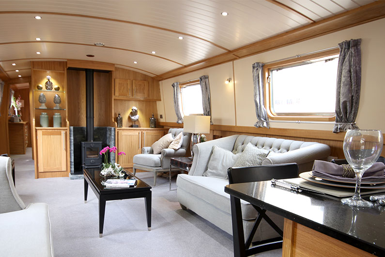 12ft Eurocruiser - Luxury Widebeam Boat Builders - Saloon