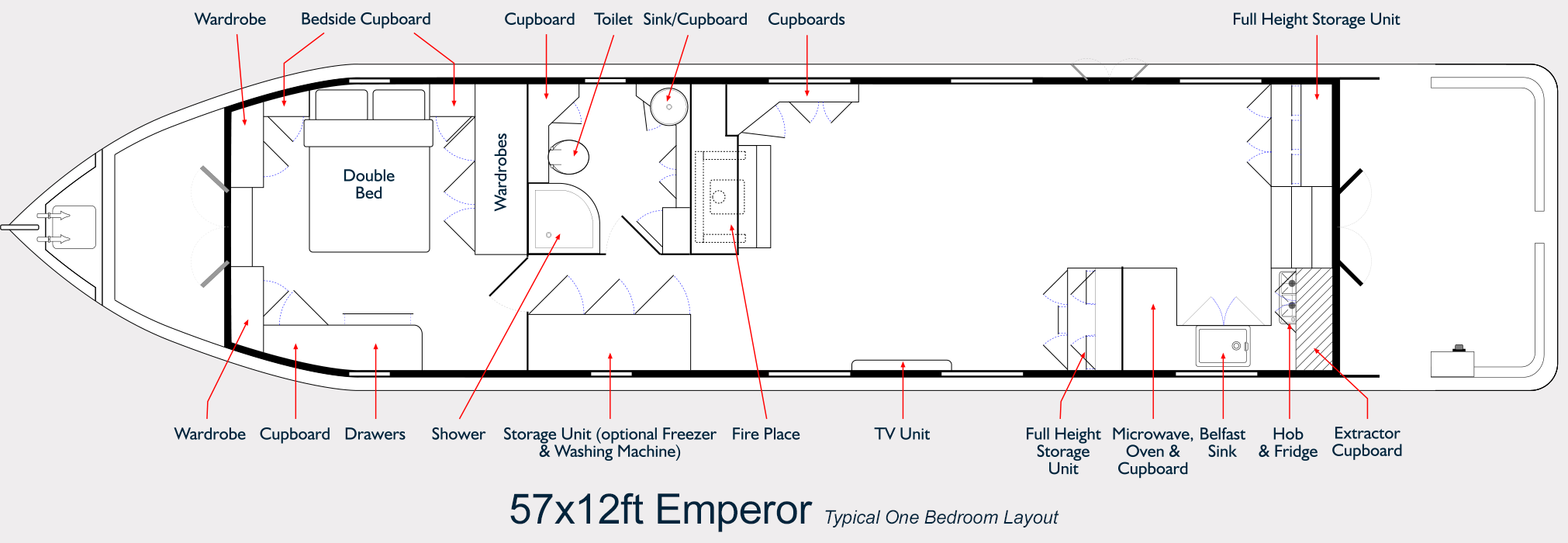 Hanbury Range Emperor Widebeam - Boat Builder Layout Plans 57ft x 12ft