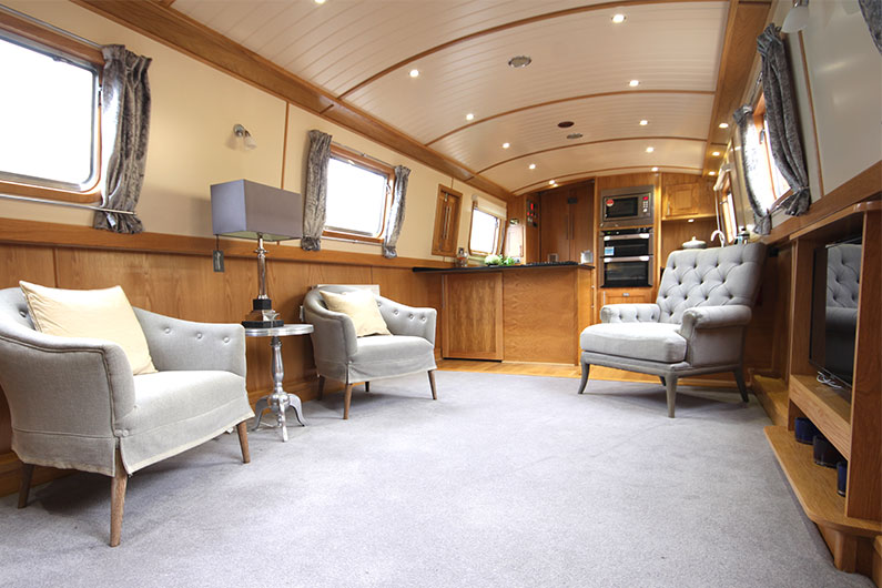 10ft Widebeam Builders -The Baby Eurocruiser Galley Saloon